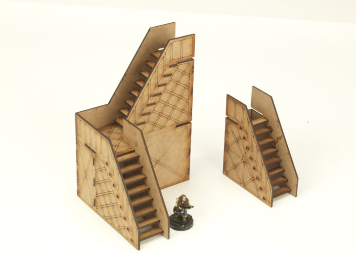 Stairs etched 2 + 1 storey twin pack
