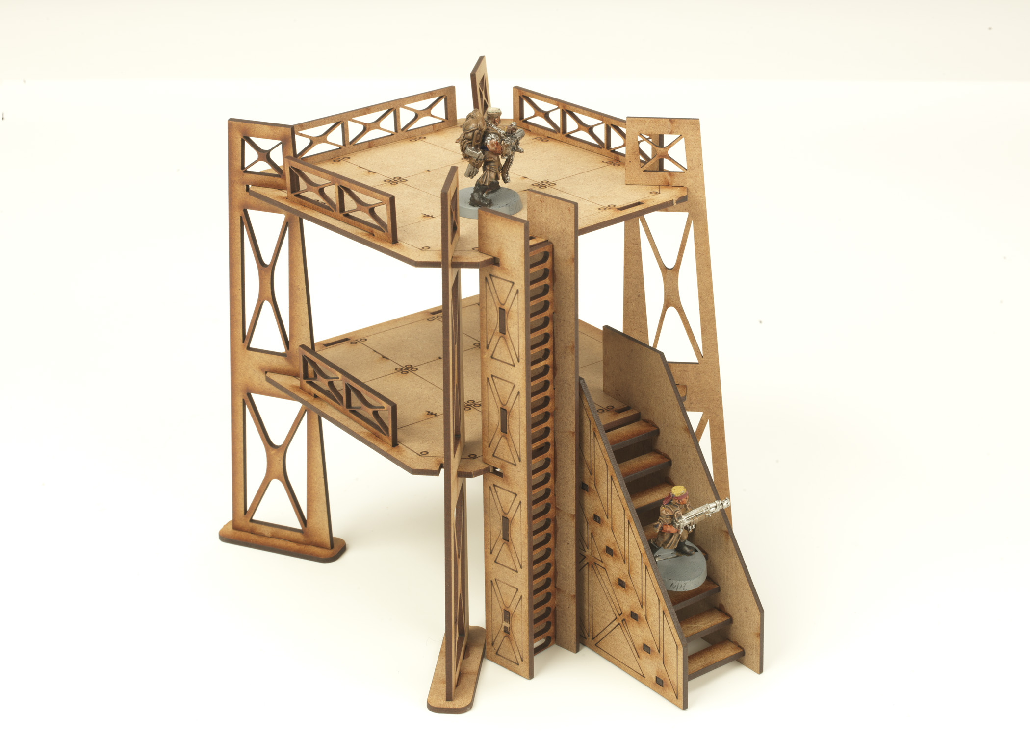 Tower with 1 x 1 storey etched stairs ladder wargames for Stair tower