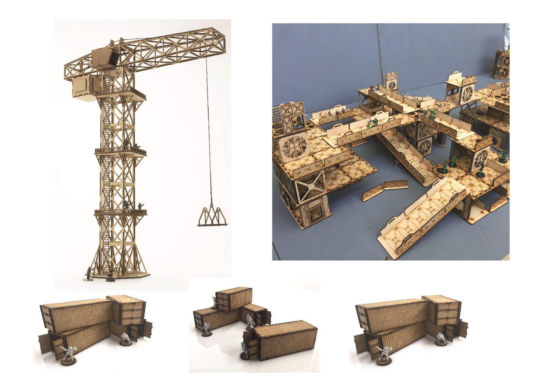Slot & Stack Industrial Terrain + Massive Crane Bundle