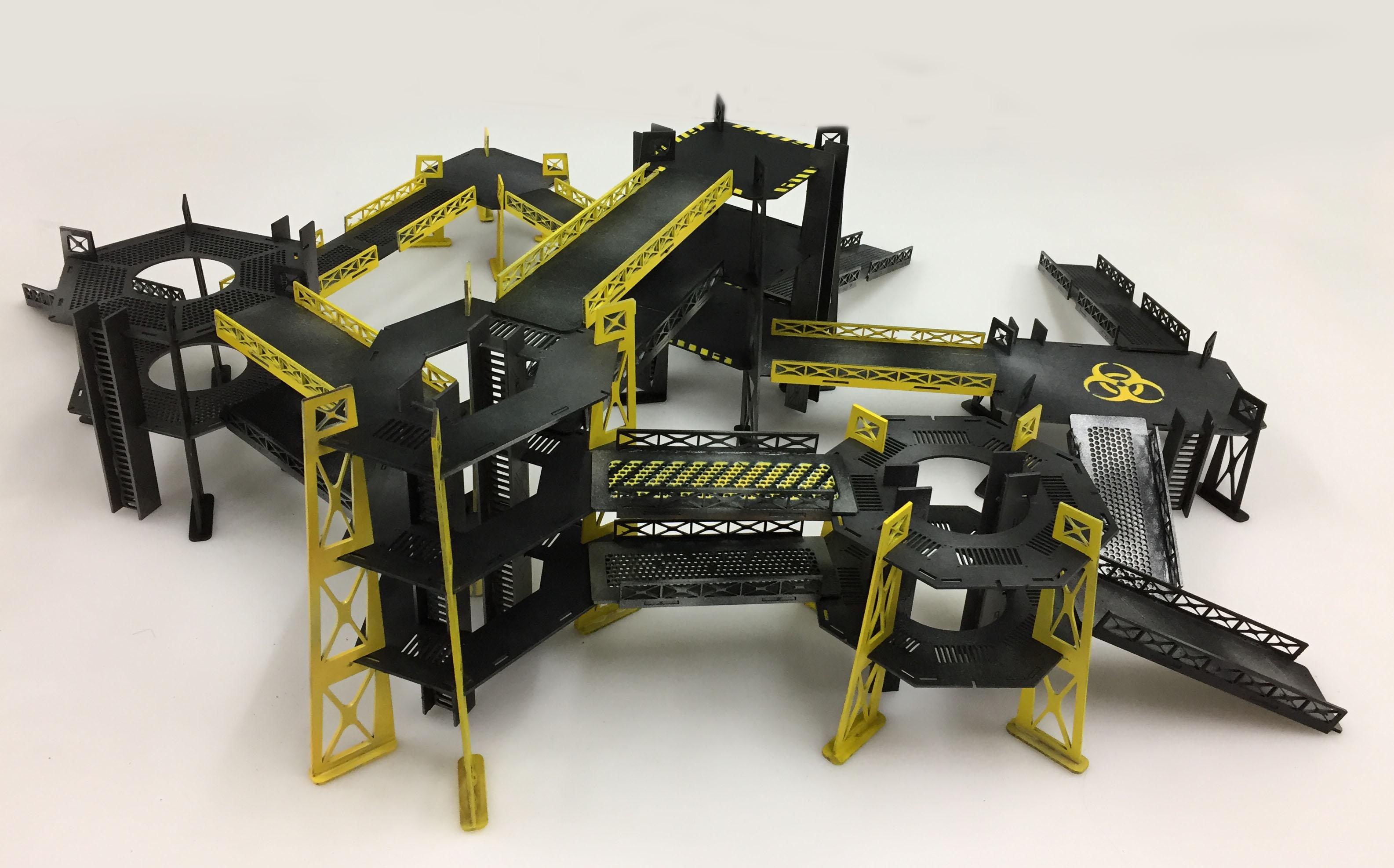 Industrial Terrain Set, Built and Painted Set | Wargames